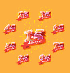 happy anniversary glass bulb numbers set vector image