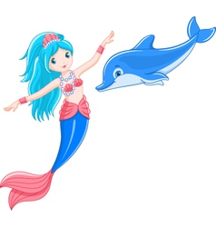 mermaid and dolphin vector image