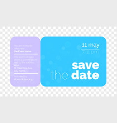 save the date wedding card ticket vector image
