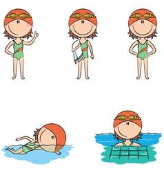 swimmer girls vector image vector image