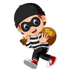 thief cartoon carrying bag of money with a dollar vector image
