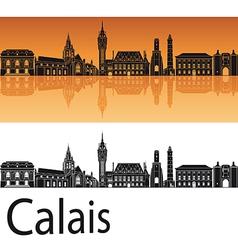 Calais skyline in orange background vector image vector image
