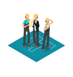 construction engineers and builders in yellow vector image vector image