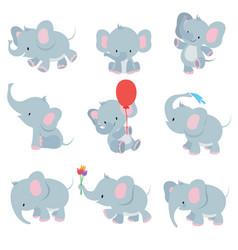 cute cartoon baby elephants animals african vector image