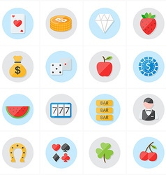 Flat Icons For Casino Icons and Game Icons vector image vector image