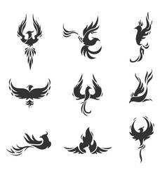 phoenix bird stylized icons on white background vector image