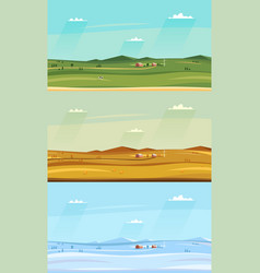 set of autumn winter and summer counryside vector image