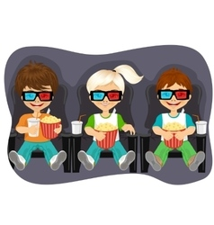 Smiling kids with popcorn watching 3D movie vector image vector image