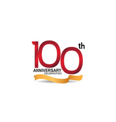 100 anniversary design logotype red color vector