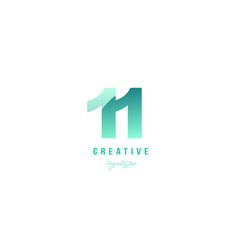 11 eleven green pastel gradient number numeral vector