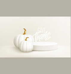 3d realistic white gold pumpkin with white product vector image