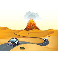 A desert with two patrol cars vector