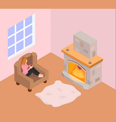 a girl sits in an armchair and warms by the firepl vector image