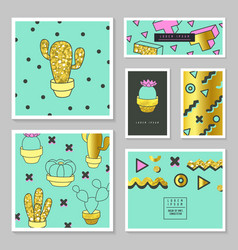 Abstract cards with golden glitter texture cactus vector