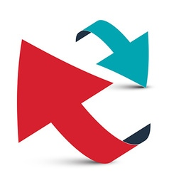 Arrows - 3D Red and Blue Arrow Logo Design vector image