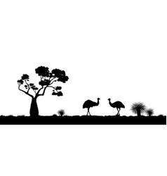 Australian landscape black silhouette emu vector