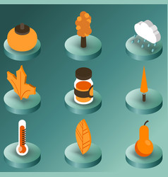 autumn color isometric icons vector image