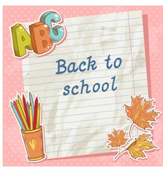 Back to school card on paper sheet vector image