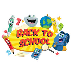 Back to school design in funny cartoon style vector
