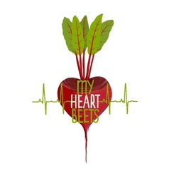 Beetroot Heart Shape Motivational Vegetable vector