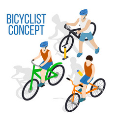 Bicycle concept clip art isometric style vector