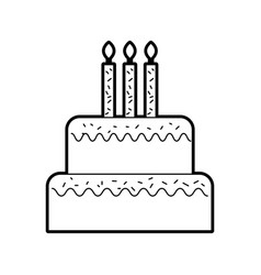 birthday cake with candles burning sweet delicious vector image