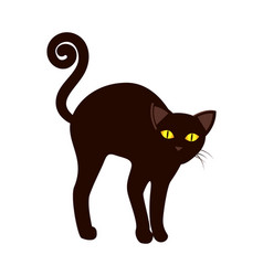 Black cat with long tail symbol halloween vector