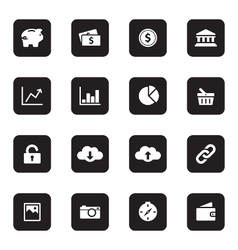 black flat finance and technology icon set vector image