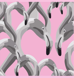 black white flamingo head seamless pattern pink vector image