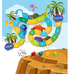 Boardgame design template with dinosaurs vector