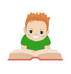 Boy reading book vector