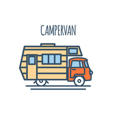 Campervan thin line flat design vector
