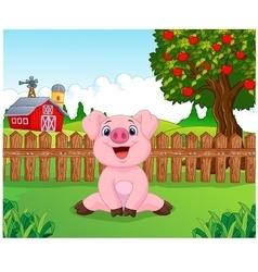 Cartoon adorable baby pig on the farm vector image