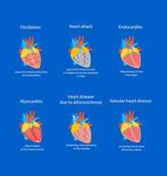 Cartoon heart disease set vector
