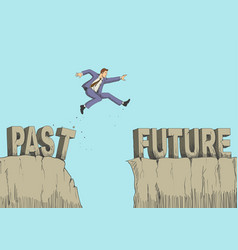 Cartoon of a man jumps from past to future vector