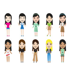 Casual set woman characters with long hair in vector