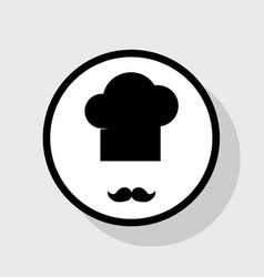 chef hat and moustache sign flat black vector image vector image