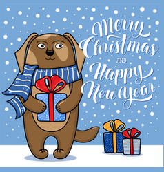 Christmas and new year card with standing dog vector