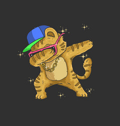 cute cat dabbing dance graphic vector image