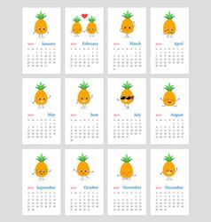 cute monthly pineapple calendar 2019 vector image