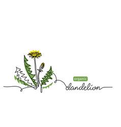 dandelion plant flower one line art drawing vector image
