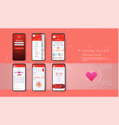 Different ui ux gui screens fitness app vector