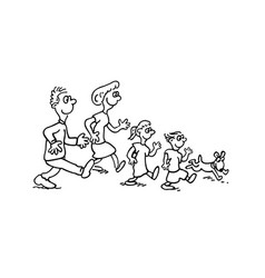 family walking together outlined cartoon hand draw vector image