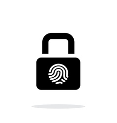 Fingerprint secure lock icon on white background vector image
