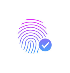Fingerprint success icon thumbprint with vector