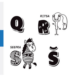 Finnish alphabet slingshot zebra letters vector