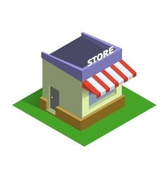 Flat isometric store logo on line shopping and e vector
