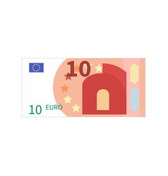 Flat simple ten euro banknote on white vector