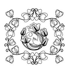 Floral frame with bird vector