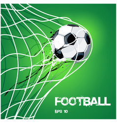 football soccer ball in net on gold image vector image